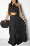 PansyGal Halter Neck Crop Pleated Two Piece Maxi Dress