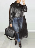 PansyGal Tulle-Combo Faux-Leather Jacket