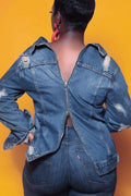 PansyGal Back Zipper Design Distressed Button Up Denim Jacket