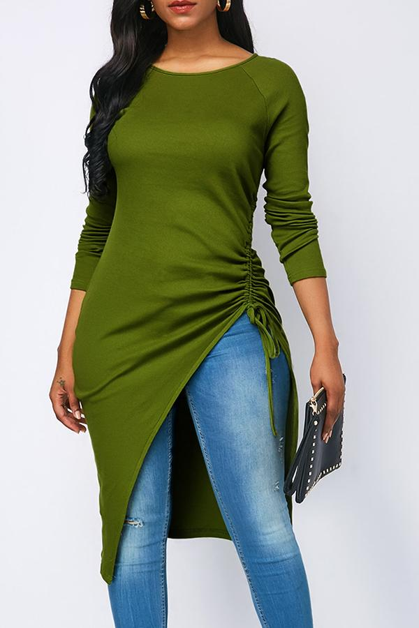 PansyGal Casual Asymmetrical Grass Green T-shirt