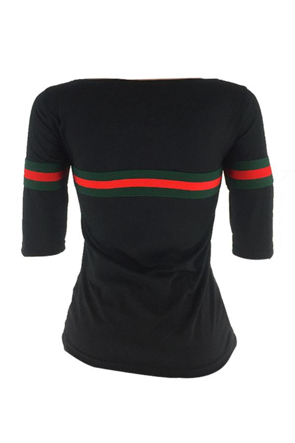 PansyGal Casual Round Neck Striped Patchwork Black Cotton T-shirt