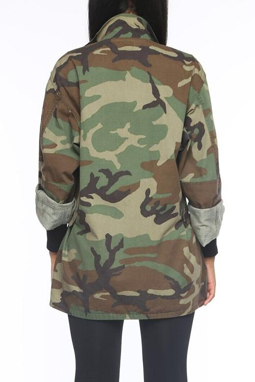 PansyGal Casual Turndown Collar Single Breasted Camo Cotton Blends Coat(Without Belt)