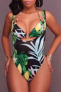 PansyGal Bohemia Backless Printing Lace-up Polyester Two-piece Swimwears