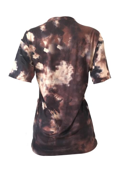 PansyGal Round Neck Broken Holes Character Printed Brown Cotton Blends T-shirt
