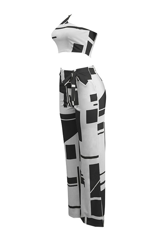 PansyGal Show A Shoulder Geometric Printed Black Qmilch Two-piece Pants Set
