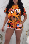 PansyGal Hooded Collar Camouflage+Letters Printed Orange Twilled Satin Two-piece Shorts Set