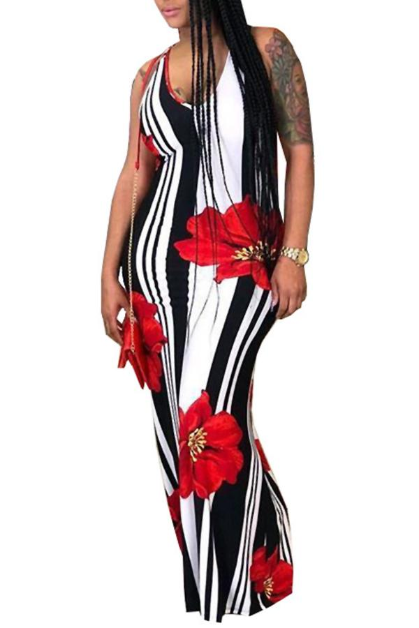 PansyGal Casual U Neck Striped+Floral Printed Floor Length Dress