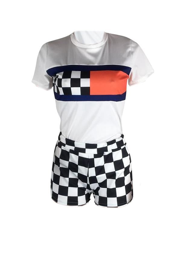 PansyGal Leisure Round Neck Plaid Printed White Two-piece Shorts Set