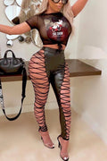 PansyGal Print O neck Short Sleeve Sexy Two Pieces Pants set