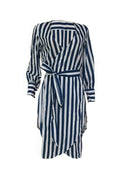 PansyGal V Neck Striped Side Slit Red Cotton Mid Calf Dress(With Belt)
