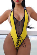 PansyGal Casual U Neck Patchwork Lace-up Polyester One-piece Swimwears
