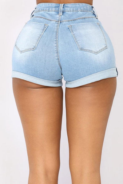 PansyGal Casual High Waist Baby Blue Denim Zipped Shorts