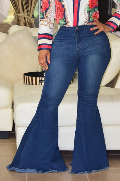 PansyGal High Waist Flared Baby Blue Denim Zipped Jeans