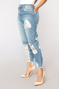 PansyGal High Waist Broken Holes Light Blue Denim Zipped Jeans