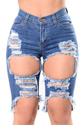 PansyGal Trendy Broken Holes Blue Denim Shorts