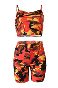 PansyGal Casual Dew Shoulder Camouflage Printed Two-piece Shorts Set