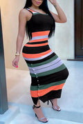 PansyGal U Neck Colorful Striped Ankle Length Dress