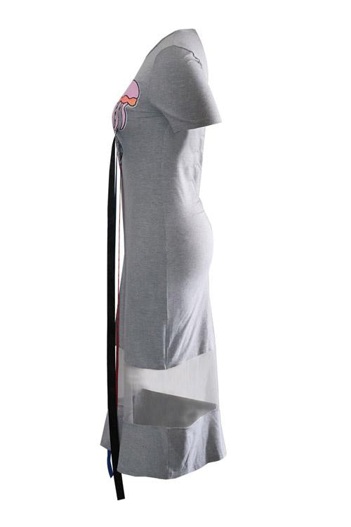 PansyGal Euramerican Short Sleeves Patchwork Grey Knee Length Dress