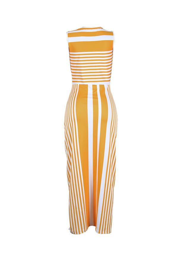 PansyGal Round Neck Striped Yellow Floor Length Dress
