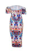 PansyGal Work Bateau Neck Printing Mid Calf Dress