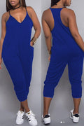 PansyGal Fashion V Neck Pocket Design One-piece Jumpsuits