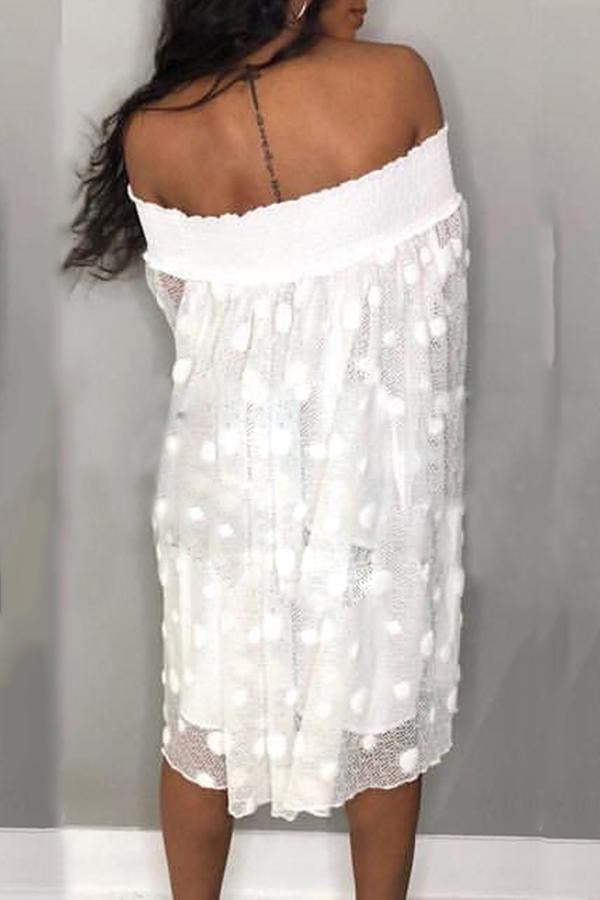 PansyGal Trendy Dew Shoulder Transparency White Mid Calf A Line Mini Dress