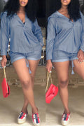 Pansygal Casual Hooded Collar Blue Two-piece Shorts Set