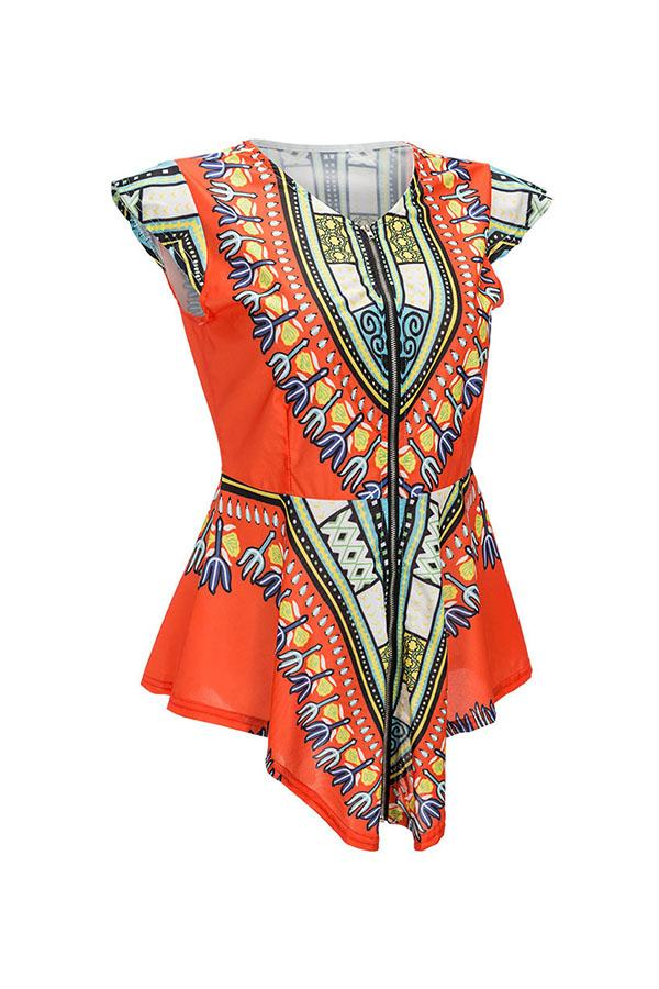 PansyGal National Style Totem Printed Orange Blouse