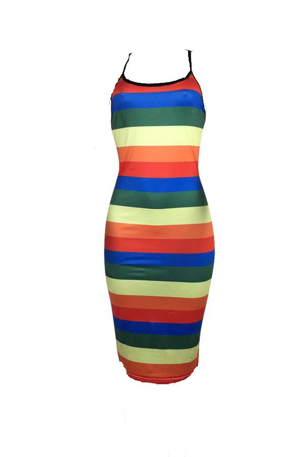 PansyGal Casual Striped Backless Knee Length Dress