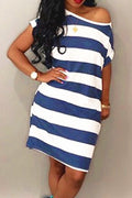 PansyGal Striped strapless White Mid Calf Dress