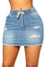 PansyGal Broken Holes Blue denim skirt