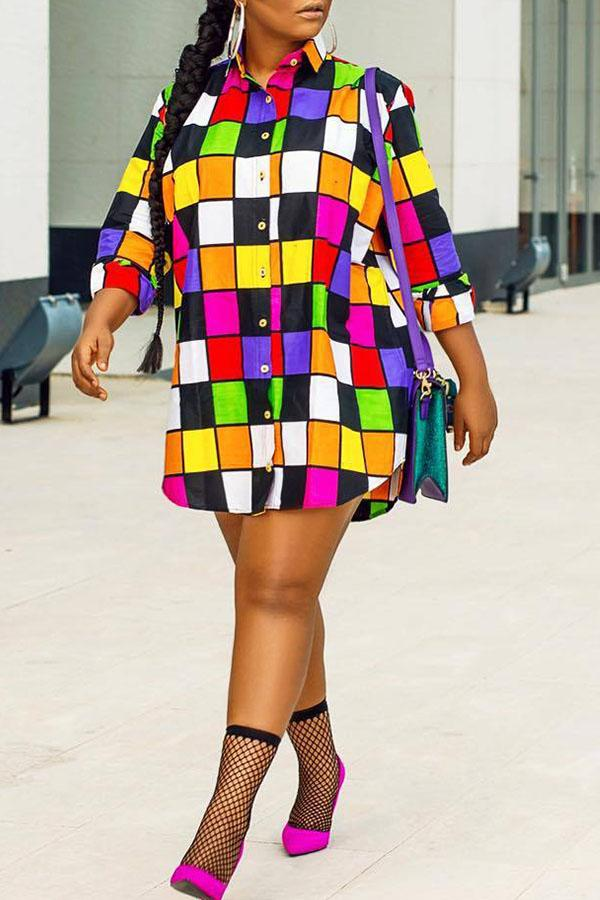 PansyGal Euramerican Patchwork Multicolor Mini Dress