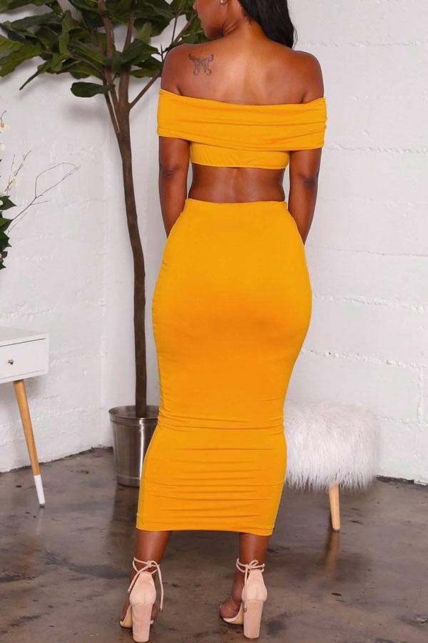 PansyGal Dew Shoulder Yellow Two-piece Skirt Set