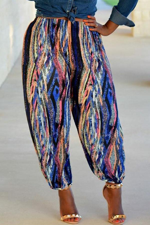 PansyGal Casual Printed Loose Multicolor Pants