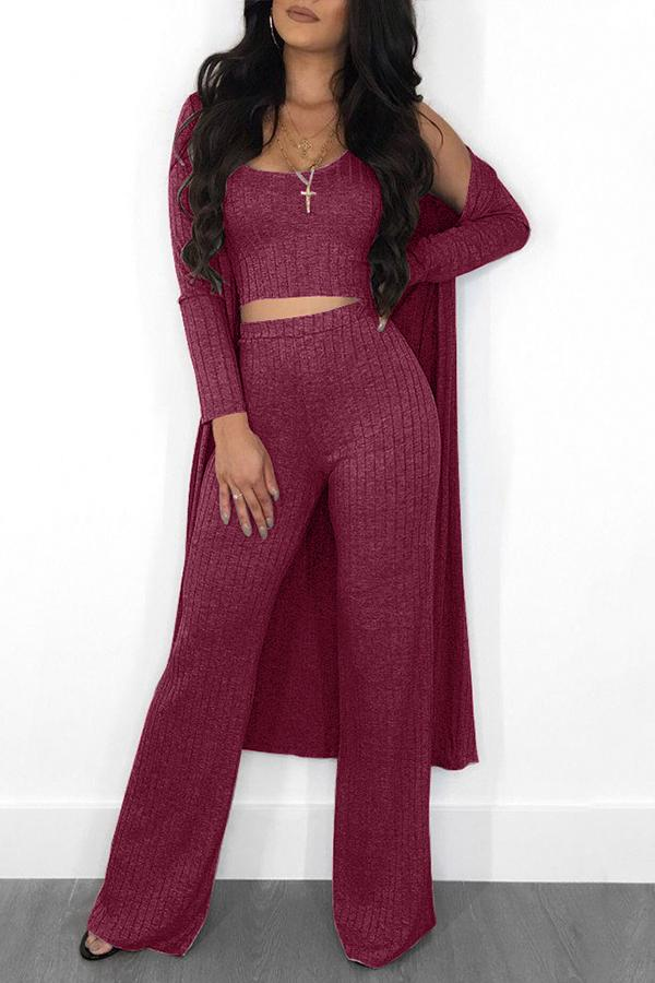 PansyGal Casual U Neck Two-piece Pants Set (With Coat)