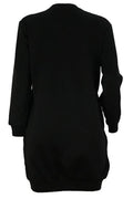 PansyGal Casual Long Sleeves Letters Printed Black Mini Dress