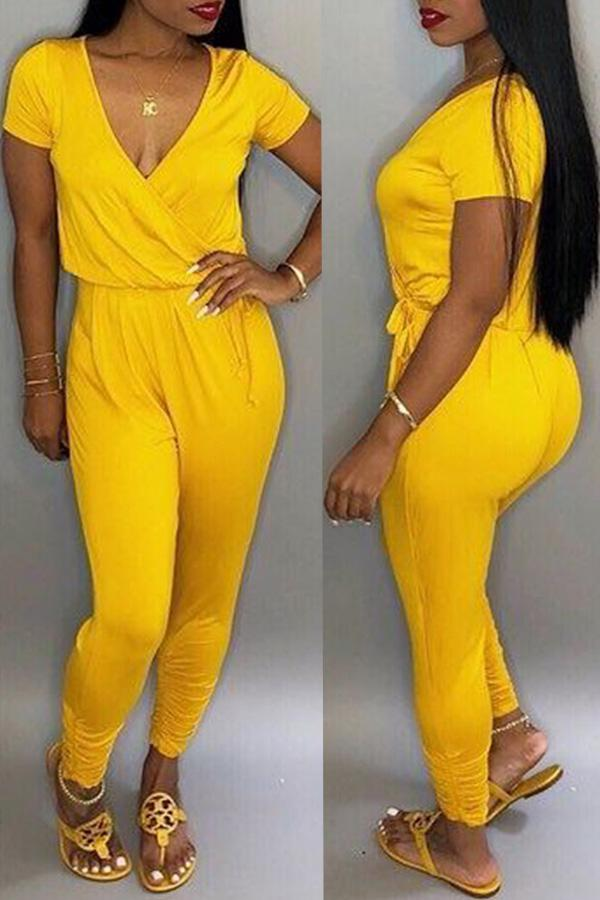 PansyGal Casual Cross-over Design One-piece Jumpsuit