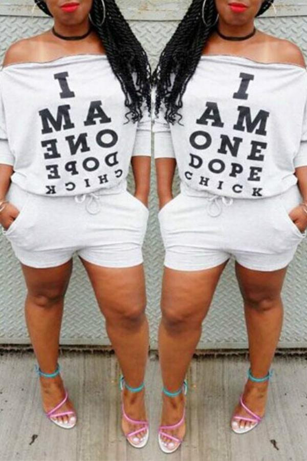 PansyGal Casual Long Sleeves Letters Printed White Two-piece Shorts Set