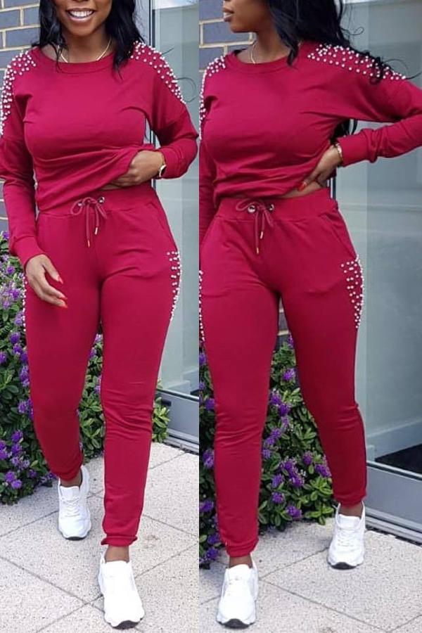 PansyGal Sportswear Nail Bead Design Two-piece Pants Set