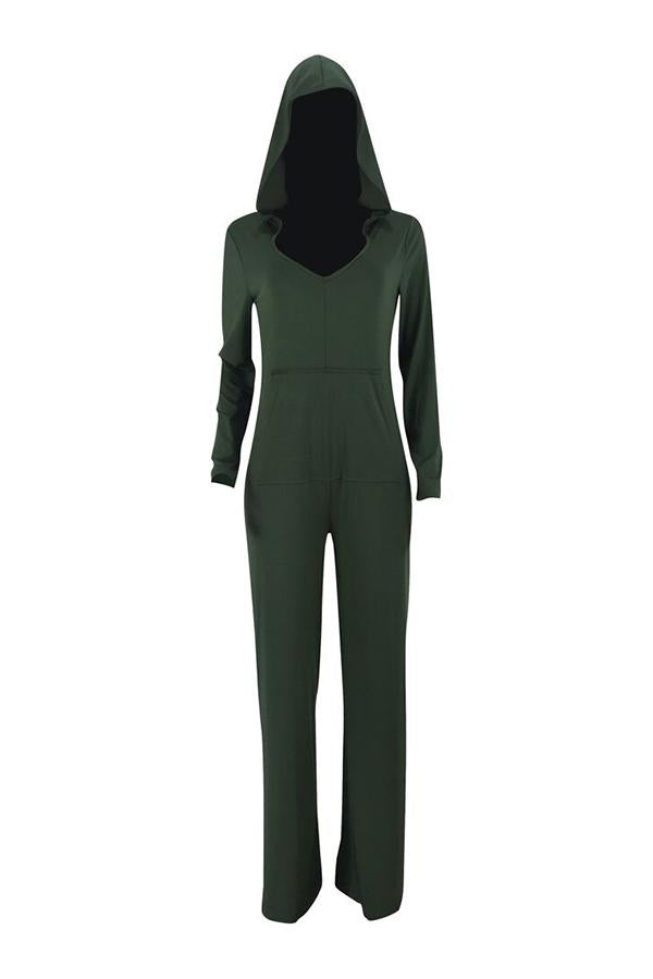 PansyGal Casual Hooded Collar Loose One-piece Jumpsuit