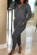 PansyGal Casual Cross-over Design Knitting One-piece Jumpsuit