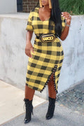 PansyGal Casual Grids Printed Yellow Blending Mid Calf Dress