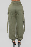 PansyGal Pockets Both Side Green Cotton Pants