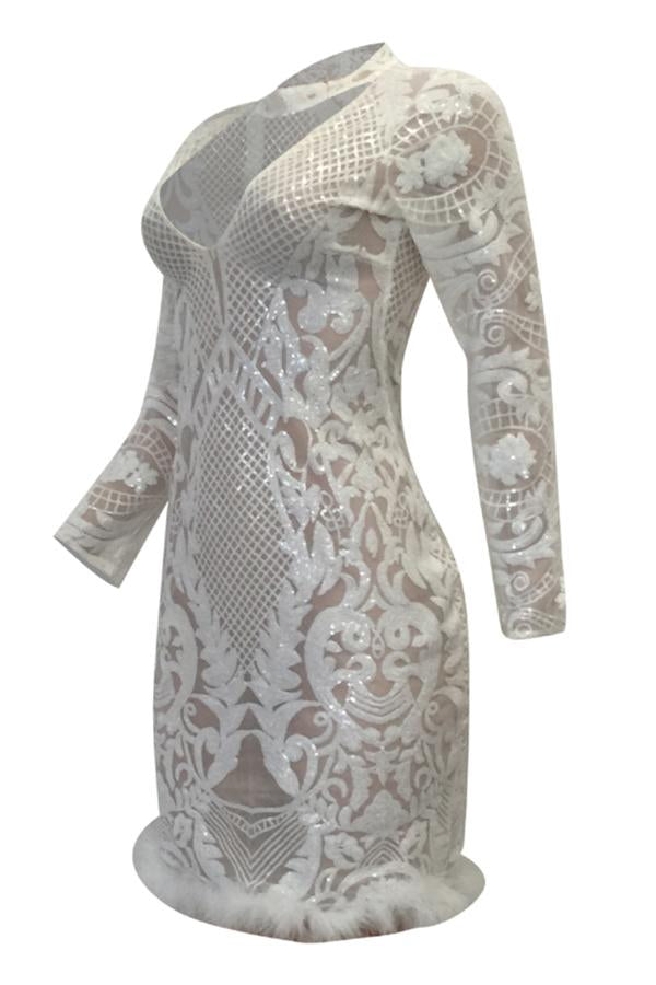 PansyGal Long Sleeves Patchwork White Knee Length Dress