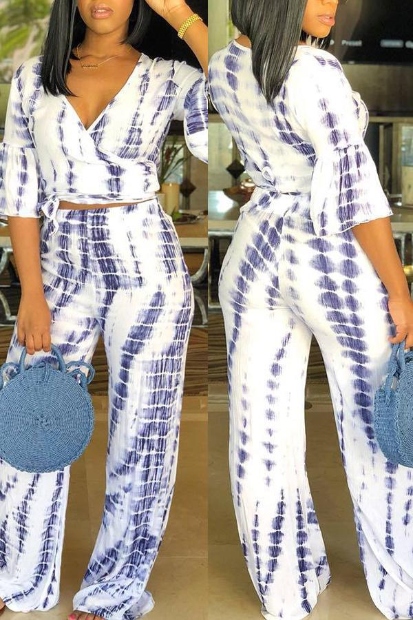 PansyGal Casual Printed Two-piece Pants Set