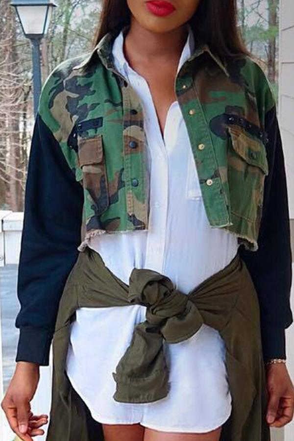 PansyGal Camouflage Printed Army Green Short Coat