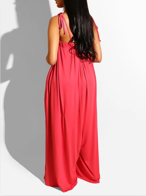 PansyGal Solid Color Pocket Wide Leg Jumpsuit