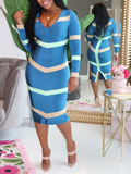PansyGal V Neck Stripe Print Long Sleeve Dress