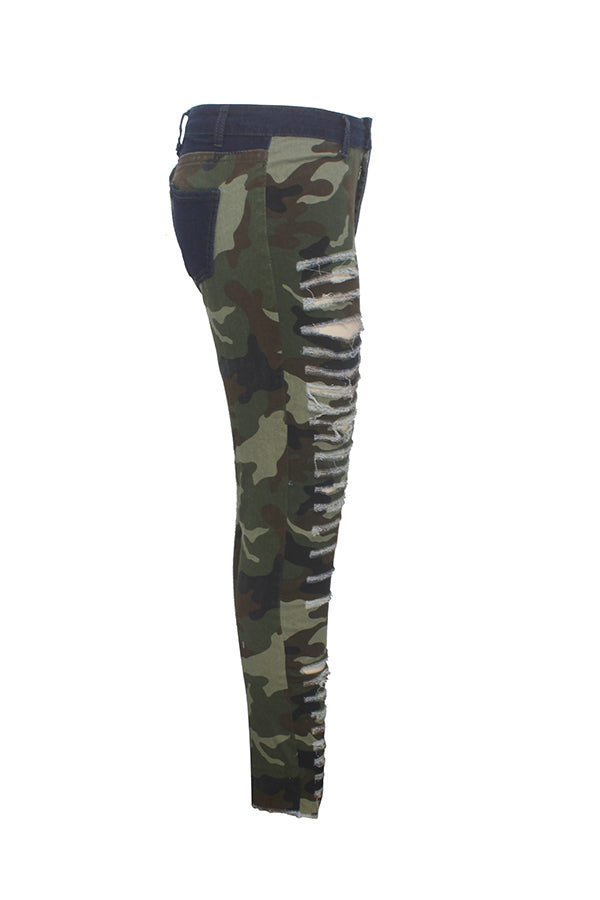 PansyGal Casual Broken Holes Camouflage Printed Jeans