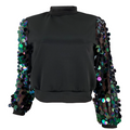 PansyGal Sequin Splicing Sleeve Top
